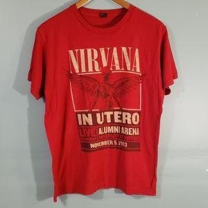 nirvana t shirt SZ M color red